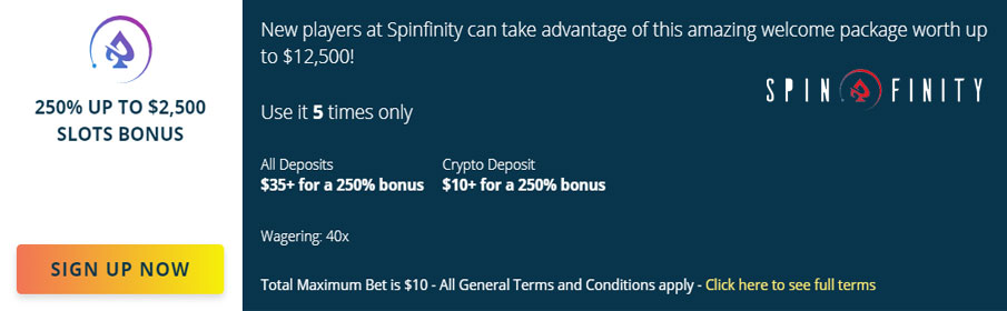 Spinfinity Casino New Player Bonus