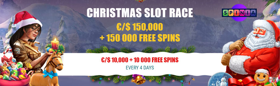 Spinia Casino Slot Race €150,000 Cash Prize & Free Spins