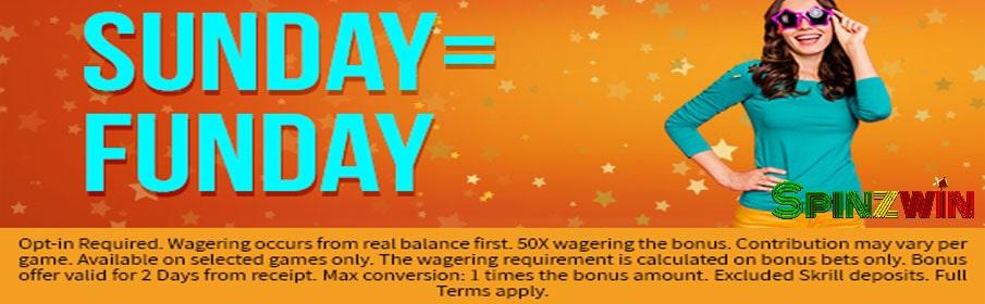 SpinzWin Casino Sunday Funday Bonus
