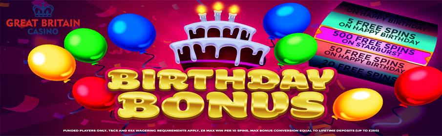 Great Britain Casino Birthday Bonus