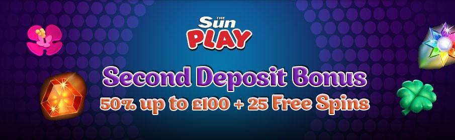 The SunPlay Casino Second Deposit Bonus of £100 + 50 FS