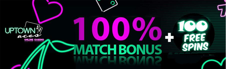 Uptown Aces Casino 100% Match Bonus & 100 Free Spins