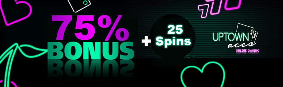 Uptown Aces Casino 75% Match Bonus & 25 Free Spins