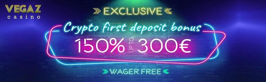 Vegaz Casino 150% up to €300 Bitcoin Bonus