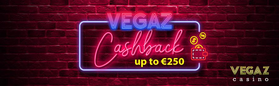 Vegaz Casino Weekly Cashback Bonus