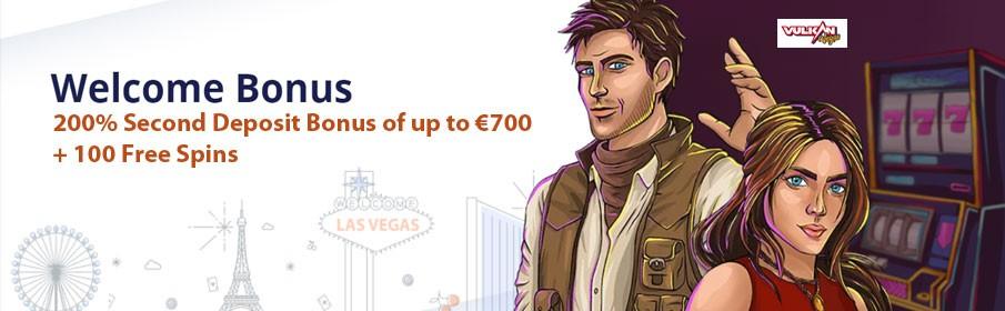 Vulkan Vegas Casino 200% Second Deposit Bonus