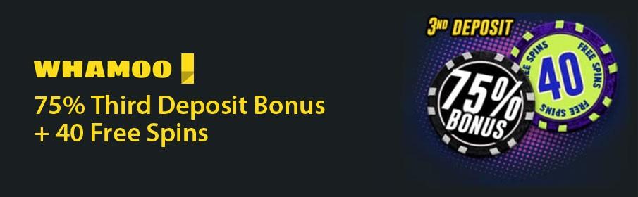 Whamoo Casino 75% Third Deposit Bonus